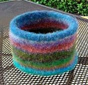 Free Pattern for Knitted Felted Bowl with Bottom Welt Deborah Does Navel-Ga...